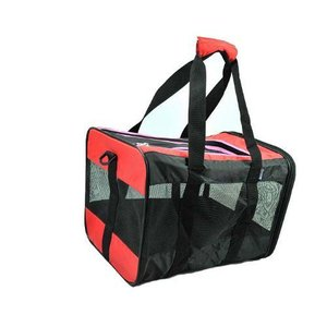折り畳み式ポータブルペットキャリーバッグ 43x29x29cm (ブラックxレッド)|gs-shop