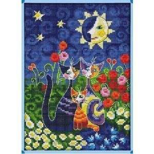 クロスステッチ刺繍キット 布地に図柄印刷 Cats under the sun|gs-shop
