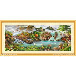 ししゅう糸 DMC糸 クロスステッチ刺繍キット 布地に図柄印刷 山水風景流水生財 gs-shop