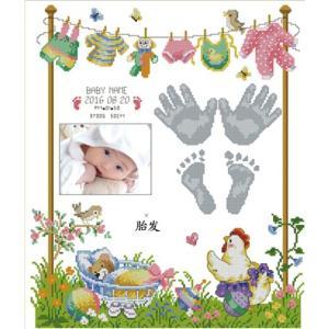 クロスステッチ 刺繍キット  赤ちゃん誕生証明 B(DMC刺繍糸)クロスステッチキット クロスステッチ ししゅう糸 刺繍糸 刺繍針 刺繍キット|gs-shop