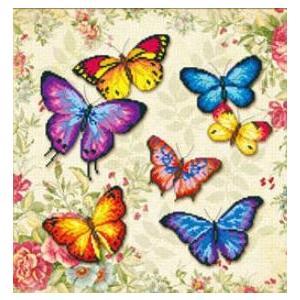 ししゅう糸 DMC糸 クロスステッチ刺繍キット 図案印刷 5D 彩色蝶々 gs-shop