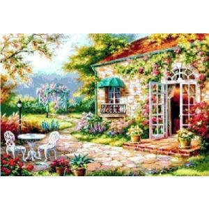 DMC糸 クロスステッチ刺繍キット 花庭 図柄印刷 gs-shop