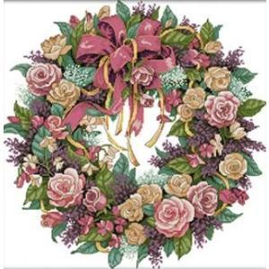 ししゅう糸 クロスステッチ刺繍キット 布地に図柄印刷 ロマン薔薇