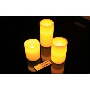 【リモコン付き 3個セット】LEDキャンドル 蝋(ワックス)使用 【自動消灯タイマー、明るさ2段階調整、照明モード付き】 gs-shop