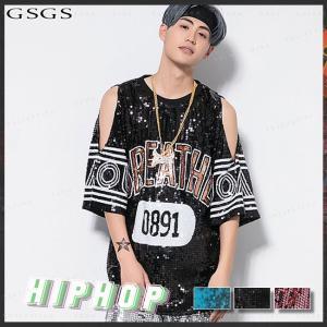 ダンス衣装 レディース ヒップホップ トップス 演出服 Tシャツ ステージ衣装 HIPHOP ステージ 公演服|gsgs-shopping