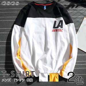 長袖Tシャツ カジュアルTシャツ 春服 クルーネック メンズ Tシャツ gsgs-shopping