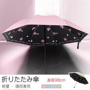 折りたたみ傘 三段式 直径97cm 耐風撥水 晴雨兼用 軽量249g 1人用 頑丈な8本骨 内側に絵柄 携帯便利なコンパクト折り畳み傘|gsgs-shopping