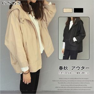 ショートトレンチコート ショートジャケット フード付き 軽やか シンプル フリーサイズ gsgs-shopping