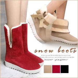 スノーブーツ ムートンブーツ ファッション レディースシューズ 靴 ブーツ 韓国風 カジュアル 半長靴 フラットソール 冬 暖かい リボン 厚底 大きいサイズ|gsgs-shopping