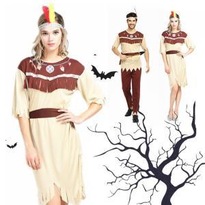 ハロウィン コスプレ コスチューム 衣装 仮装 野獣 大人用 男性 女性 セット ベルト 肌魅せ セクシー シンプル ミドル 野人 半袖 インディアンス|gsgs-shopping