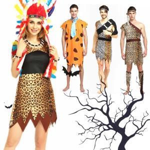 ハロウィン コスプレ コスチューム 衣装 仮装 野獣 大人用 男性 女性 セット ベルト シンプル ミドル 野人 半袖 インディアンス 頭巾 ワンピース|gsgs-shopping