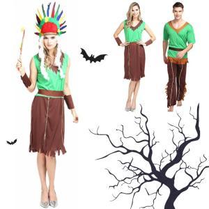 ハロウィン コスプレ コスチューム 衣装 仮装 野獣 大人用 男性 女性 セット シンプル ミドル 野人 半袖 インディアンス 頭巾 ワンピース グリーン|gsgs-shopping