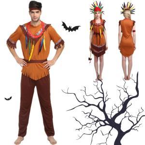 ハロウィン コスプレ コスチューム 衣装 仮装 野獣 大人用 男性 女性 セット シンプル ミドル 野人 半袖 インディアンス 頭巾 ワンピース 人気 酋長|gsgs-shopping