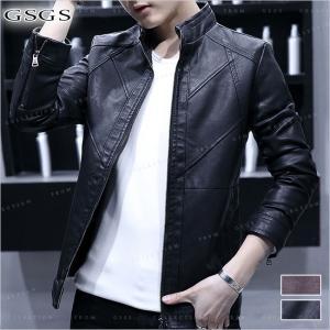 送料無料 レザージャケット メンズ レザーコート 革ジャン ライダースジャケット ジャンパー  シングル PU革   大きいサイズ PU|gsgs-shopping