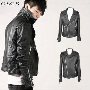 送料無料 レザージャケット メンズ レザーコート シングルライダース 革ジャン ブルゾン アウター メンズファッション  PU|gsgs-shopping