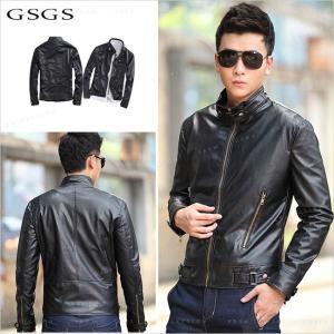 送料無料 レザージャケット メンズ レザーコート シングル  ブルゾン ジャケット 革ジャケット メンズアウター PU|gsgs-shopping