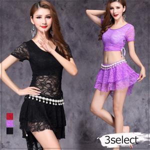 ベリーダンス 衣装 新作 レディース ダンス シースルー袖 ミニスカート メール便送料無料|gsgs-shopping