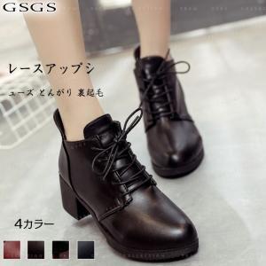 レースアップシューズ とんがりトウ  レディース ブーツ 靴   裏起毛|gsgs-shopping