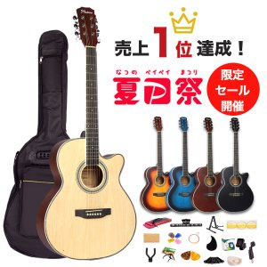 アコースティックギター入門17点セット 初心者セット アコギ カッタウェイ カラー5色