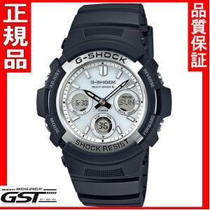 カシオGショックAWG-M100S-7AJFソーラー電波腕時計メンズ(黒色〈ブラック〉)|gst