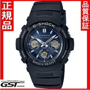 カシオGショックAWG-M100SB-2AJFソーラー電波腕時計メンズ(黒色〈ブラック〉)|gst