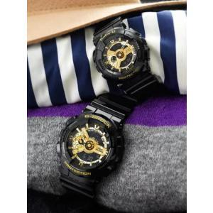 国内モデル ペア腕時計カシオGショック&ベビーG、GA-110GB-1AJF-BA-110-1AJF黒金ペアウォッチゴールド黒色ブラック正規保証書|gst|07