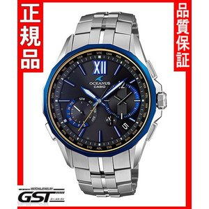 カシオ正規国産品OCW-S3400G-1AJF「オシアナスマンタブラックマーブル」電波ソーラー腕時計メンズ(銀色〈シルバー〉)|gst