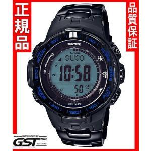 カシオプロトレックPRW-3100YT-1JFソーラー電波腕時計「ブルーモーメント」メンズ(黒色〈ブラック〉)|gst