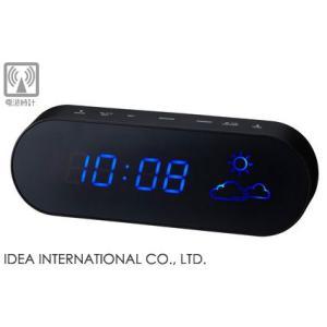 【販売終了】送料無料◆IDEA イデア 電波LEDウェザークロック BR [ブラック/ブルーLED] LCR101-BK/BL gudezacom