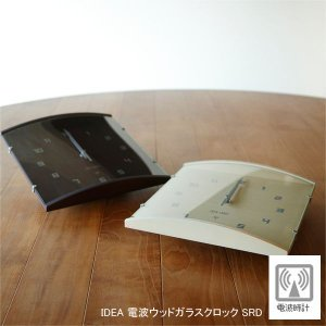 【販売終了】IDEA イデア 電波ウッドガラスクロック SRD  LCR103 掛け時計|gudezacom