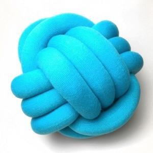 結び目クッション/ノットピロー 30cm ターコイズブルー|guild-yarn