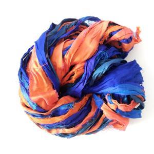 リサイクルサリーリボン ブルー×オレンジ|guild-yarn