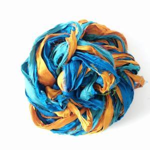 リサイクルサリーリボン ターコイズ×オレンジ|guild-yarn
