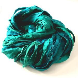 リサイクルサリーリボン Emerald green 100g|guild-yarn