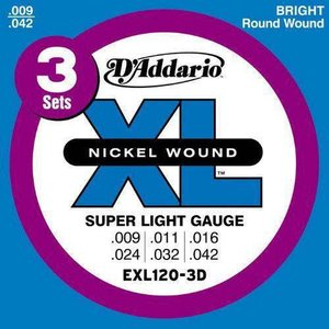 D'Addario 9-42 EXL120-3D Super Light 3セットパック|guitarplanet