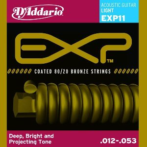 D'Addario 12-53 EXP11 Light Coated 80/20 Bronze Strings|guitarplanet