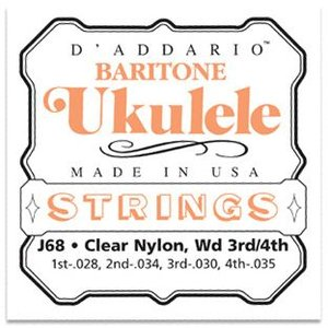 D'Addario J68 Clear Nylon バリトンウクレレ弦セット