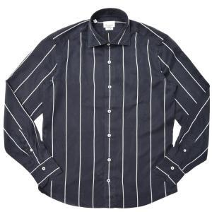 Giannetto(ジャンネット)ウォッシュドテンセルストライプセミワイドカラーシャツ VINCI FIT/617300V81 11002004109|guji