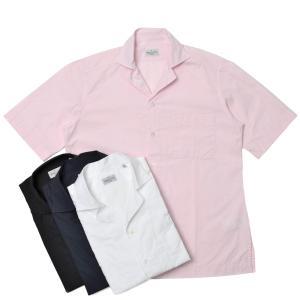 Bagutta(バグッタ)ウォッシュドコットンポプリンソリッドS/Sオープンカラーシャツ MAUI GM/CN0170 11011001054|guji