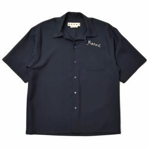 MARNI(マルニ)ウールトロピカルオープンカラーロゴS/Sシャツ CUMU0054A0S45455 11011400138|guji