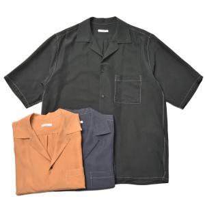 moncao(モンサオ)ウォッシャブルシルクオープンカラーS/Sシャツ MON1-03 11011401172|guji