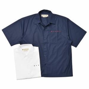 MARNI(マルニ)コットンポプリンオープンカラーロゴS/Sシャツ CUMU0202P0S53663 11011402138|guji