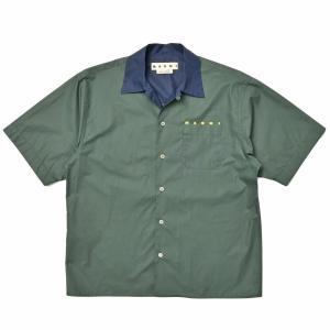 MARNI(マルニ)コットンポプリンオープンカラーロゴS/Sシャツ CUMU0216PQ S53663 11011403138|guji