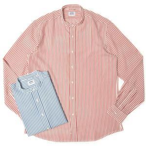 ASPESI(アスペジ)リヨセルロンドンストライプバンドカラーシャツ BRUCE/13921ACE76G438 11015001109|guji