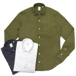 【SALE30】Finamore(フィナモレ)LUIGIルイジ/GENOVAジェノバ ウォッシュドコットンブロードソリッドワイドカラーシャツ C0147 11091000039|guji
