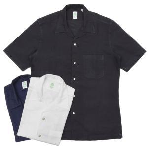 【SALE30】Finamore(フィナモレ)BARTバルト ウォッシュドコットンリネンソリッドS/Sオープンカラーシャツ P9063 11091002039|guji
