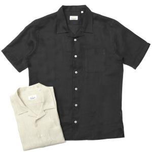 Giannetto(ジャンネット)リネンソリッドオープンカラーS/Sシャツ AG833BOWMM 11091010109 guji