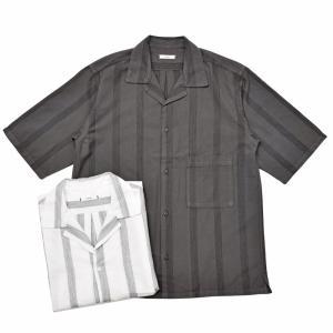 moncao(モンサオ)カディコットンステッチストライプオープンカラーS/Sシャツ EMB1 11091402136 guji