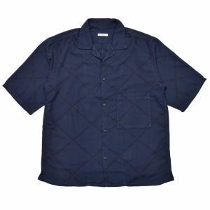 moncao(モンサオ)カディコットンダイヤステッチパターンオープンカラーS/Sシャツ YDI-0285 11091403136 guji