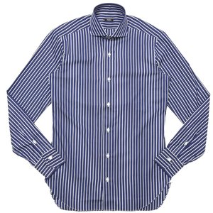 BARBA(バルバ)406 コットンブロード白抜きストライプワイドカラーシャツ I/406/TONDO/6653 11102201022|guji